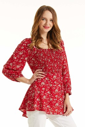 SONJA BETRO Women's Floral Printed Smocked Bib Square Neck Tunic Top Blouse/101RED Print/Small