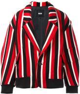 Kokon To Zai striped tailored bomber jacket - men - Cupro/Wool - XL