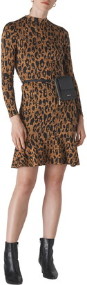 Whistles Leopard Print Long Sleeve Jersey Dress