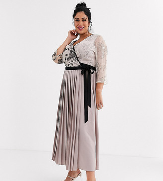 Little Mistress Plus wrap front maxi dress with pleated skirt in mink