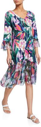 Chiara Boni Zehra Floral Print 3/4-Sleeve Coverup Dress