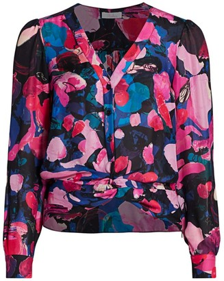 Parker Julia Abstract Floral V-Neck Blouse