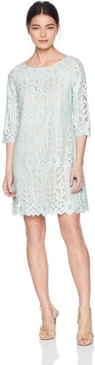 Jessica Howard Jessicahoward JessicaHoward Women's Petite 3/4 Sleeve Lace Shift Dress