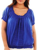 JCPenney St. John's Bay® Embroidered Peasant Top - Plus