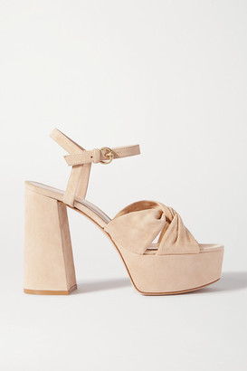 Gianvito Rossi 110 Suede Platform Sandals - Neutral