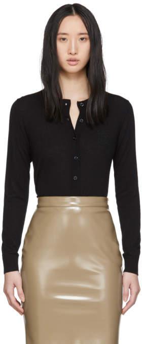 Burberry Black Cashmere Monogram Cardigan