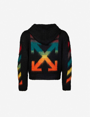 Off-White Diagonal-pattern crewneck mohair-blend jumper