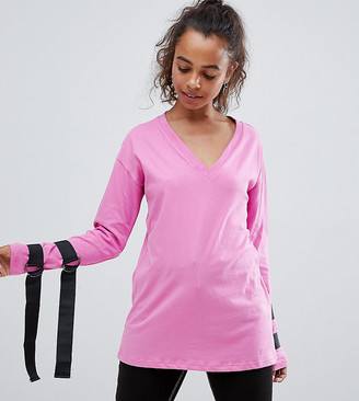 Asos Top with Long Sleeve D-Ring Tie Detail & Open Tie Back-Pink