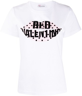 RED Valentino lips logo-print T-shirt