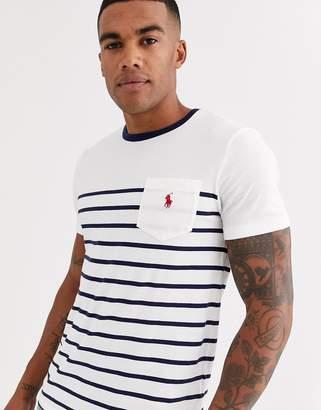 Polo Ralph Lauren player logo body stripe pocket t-shirt contrast neck in navy/white