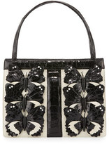 Nancy Gonzalez Crocodile Medium Butterfly Striped Frame Bag, Cream/Black