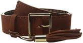 MICHAEL Michael Kors 44mm Suedge Belt with Pick Stitch and Fringe Tassel on Centerbar Buckle
