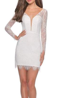 La Femme Lace Dress With Long Sleeves and Scalloped Hem