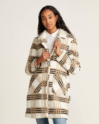 French Connection Notch Collar Plaid Faux Fur Coat