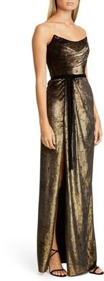 Marchesa Strapless Foiled Velvet Gown