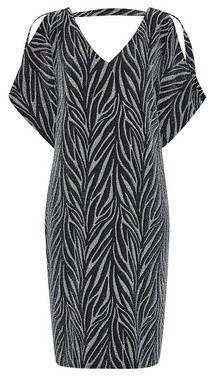 Dorothy Perkins Womens Billie & Blossom Tall Silver Zebra Print Shift Dress, Silver