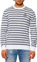 Dolce & Gabbana Striped Virgin Wool Crewneck Sweater, Gray/White