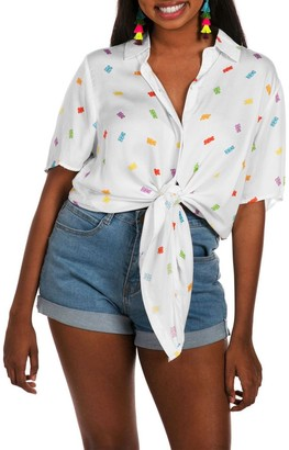 Tipsy Elves Gummy Galore Tie Front Shirt