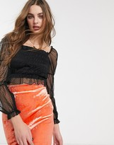 Topshop spot mesh crop blouse in black
