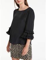 Max Studio 3/4 Frill Sleeve Top, Black