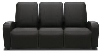 Bass Milan Home Theater Sofa (Row of 3 Type: Not Motorized, Frame Finish: Beech, Cupholders: Black cup holders