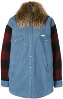 Forte Dei Marmi Couture checked sleeves denim jacket