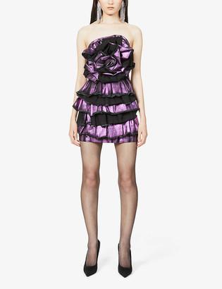 Redemption Metallic ruffled organic cotton-blend mini dress