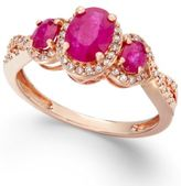 Macy's Ruby (1-1/3 ct. t.w.) and Diamond (1/4 ct. t.w.) Three-Stone Ring in 14k Rose Gold(Also Available in Emerald and Tanzanite)