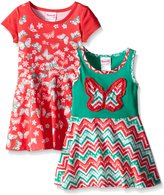 Nannette Little Girls Two Pack Twin Printed Knit Dress