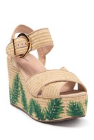 Schutz Feray Palm Embroidered Platform Wedge Sandal