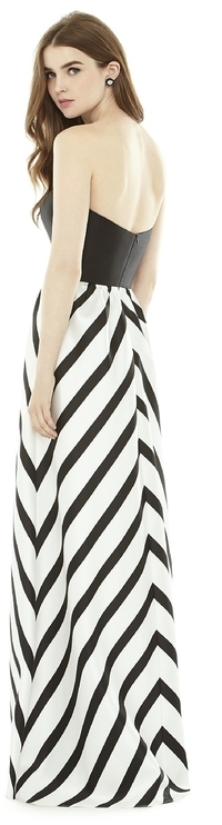 Alfred Sung D724P Bridesmaid Dress in Ivory Black
