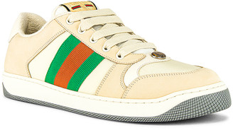 Gucci Screener Low Top Sneaker in White & Red & Green | FWRD