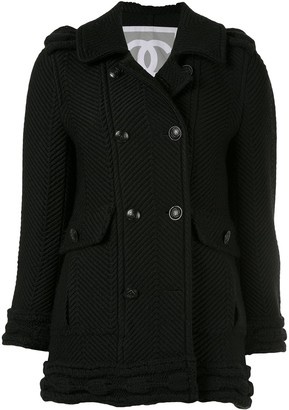 Chanel Pre Owned Herringbone-Rib Coat