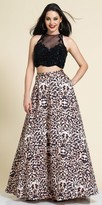 Dave and Johnny Two Piece Leopard Print Beaded Prom Dress