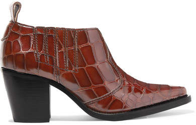 Ganni Nola Croc-effect Leather Ankle Boots - Brown