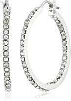 "T Tahari 4-25 Essentials"" Medium Inside Out Crystal Hoop Earrings"