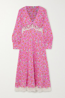 Miu Miu Lace-trimmed Floral-print Silk Crepe De Chine Midi Dress - Pink