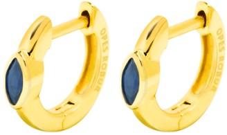 Opes Robur Gold Vermeil Blue Stone Hoop Huggies