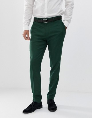 Asos Design DESIGN wedding skinny suit pants in forest green micro texture