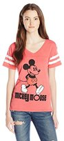 Disney Junior's Mickey High Low Burnout Football V-Neck Graphic Tee