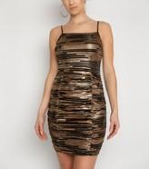New Look NaaNaa Glitter Stripe Ruched Bodycon Dress