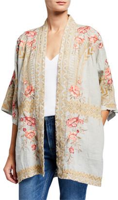 Johnny Was Petite Rianne Embroidered Linen Kimono