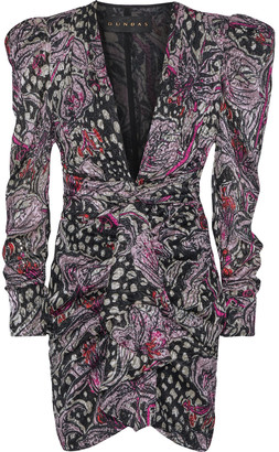 Dundas Twist-front Draped Printed Burnout Satin Mini Dress