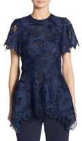 Lela Rose Leaf Guipure Lace Top