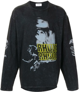 Rhude Blue Woman long-sleeved T-shirt