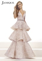 Janique - Embroidered V-Neckline Tiered Mermaid Long Evening Gown W1679