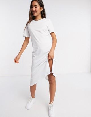 Brave Soul midi t-shirt dress in white
