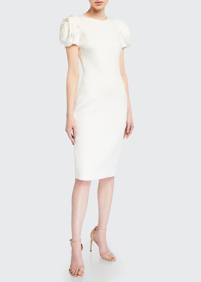 Badgley Mischka Rosette-Sleeve Sheath Dress
