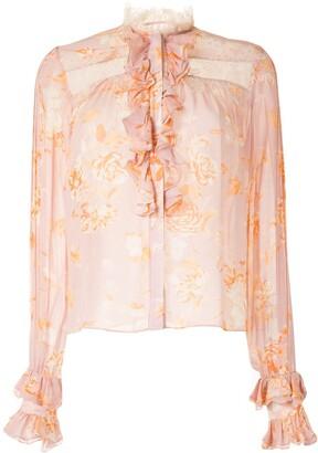 Alexis Floral Print Crochet Detail Shirt
