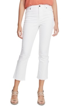 1 STATE Raw-Hem Mid-Rise Crop Skinny Jeans